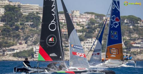 Oman Sail Diam 24 Team in action in Nice, France, on Saturday