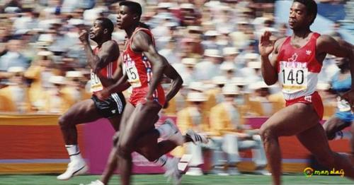 Legendary sprinter Carl Lewis (second left) won four gold medals when the Olympics were held in Los Angeles in 1984
