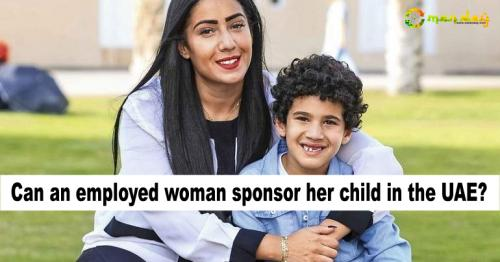 Can an employed woman sponsor her child in the UAE?