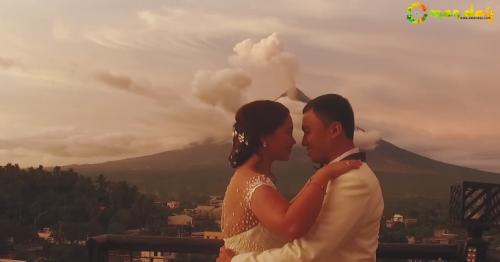 Newlyweds Took Stunning Post-Nuptial Photos with Mayon Volcano Spewing Ash behind Them