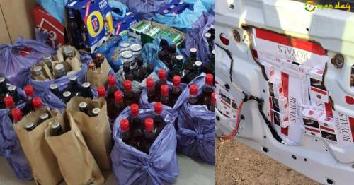 Large quantities of smuggled alcohol and tobacco were confiscated by Oman Customs