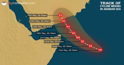 Oman, Yemen on alert for strengthening tropical cyclone Mekunu