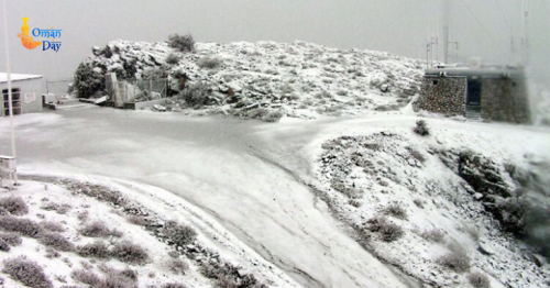 Snowfall in Jabal Shams