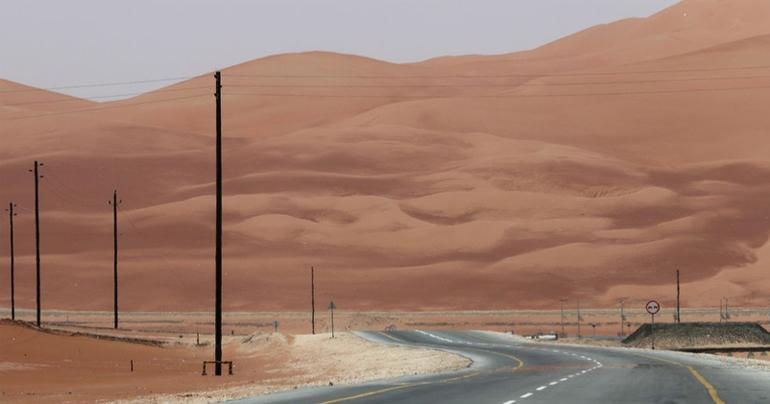 Oman-Saudi desert highway